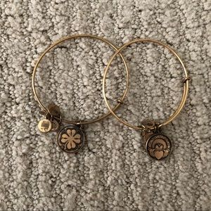 Gold Alex and Ani Irish collection bracelet set